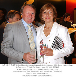 MR TONY GOTT M/D of Bentley cars at a party in London on 11th June 2003.<br /> PKI 66