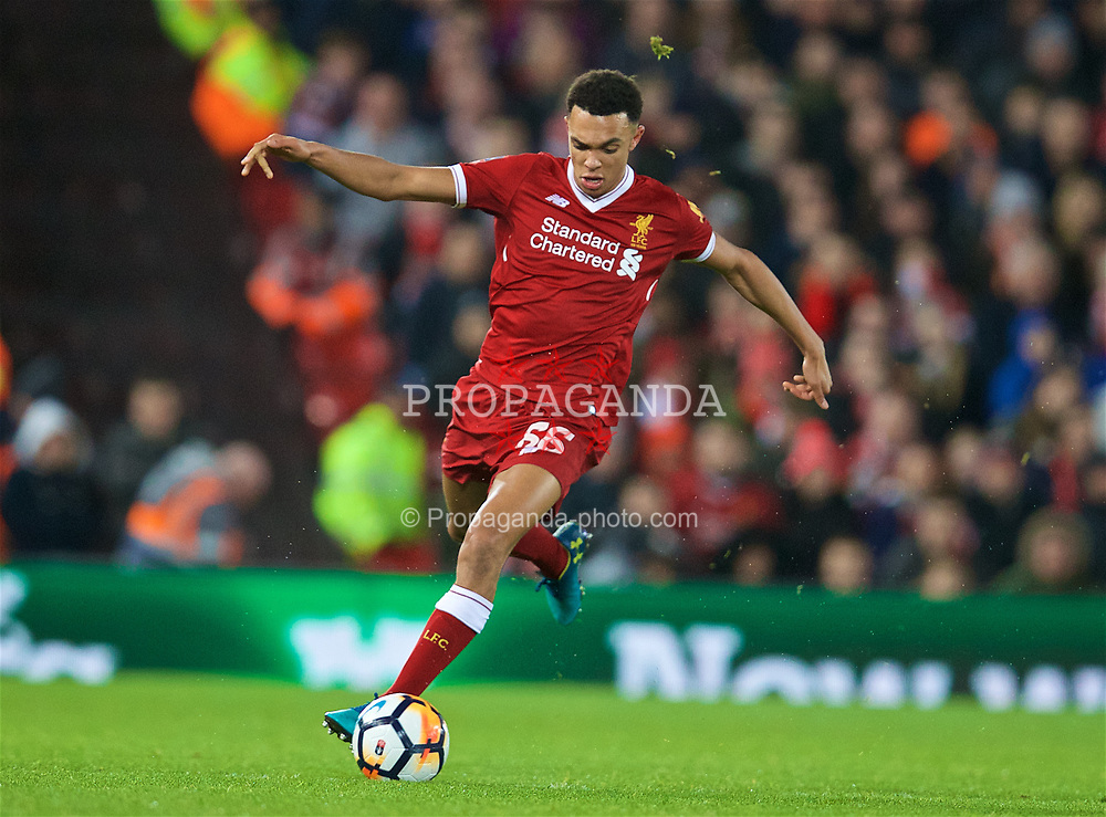 LIVERPOOL, ENGLAND - Sunday, January 14, 2018: Liverpool's Trent Alexander-Arnold during the FA Premier League match between Liverpool and Manchester City at Anfield. (Pic by David Rawcliffe/Propaganda)