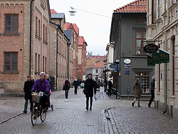 View along Haga Nygata Street in old preserved Haga district of Gothenburg Sweden 2009