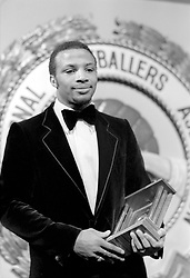 File Photo:  Former England forward Cyrille Regis has died aged 59. <br /> <br /> The PFA Young Footballer of the Year, West Bromwich Albion's Cyrille Regis, on stage after receiving his award ... Soccer - PFA Awards Ceremony - Hilton Hotel, London ... 18-03-1979 ... NULL ... NULL ... Photo credit should read: S&G/S&G and Barratts/EMPICS Sport. Unique Reference No. 582934 ... NULL