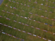 The cemetery of St. Francis-St. Mary Church in Brussels, Wis., is pictured in this aerial photo. (Sam Lucero | The Compass)
