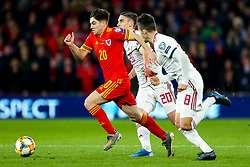 Daniel James of Wales is challenged by Roland Sallai and Adam Nagy of Hungary - Rogan/JMP - 19/11/2019 - FOOTBALL - Cardiff City Stadium - Cardiff, Wales - Wales v Hungary - UEFA Euro 2020 Qualifiers.