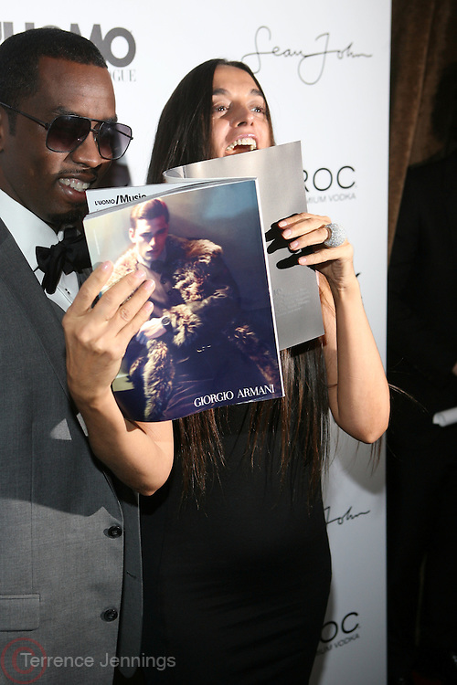 "l to r: Sean "" Diddy "" Combs and Rustsk Bergman pictured at the cocktail party celebrating Sean ""Diddy"" Combs appearance on the "" Black on Black "" cover of L'Uomo Vogue's October Music Issue"