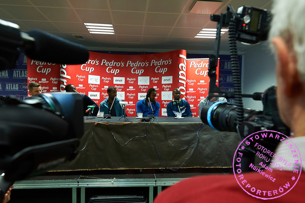 (L-R) Michael &quot;Mike&quot; Rodgers and Aries Merritt both from USA and Kim Collins from Saint Kitts and Nevis during press conference one day before athletics meeting Pedro's Cup at Atlas Arena in Lodz, Poland.<br /> <br /> Poland, Lodz, February 16, 2015<br /> <br /> Picture also available in RAW (NEF) or TIFF format on special request.<br /> <br /> For editorial use only. Any commercial or promotional use requires permission.<br /> <br /> Adam Nurkiewicz declares that he has no rights to the image of people at the photographs of his authorship.<br /> <br /> Mandatory credit:<br /> Photo by &copy; Adam Nurkiewicz / Mediasport