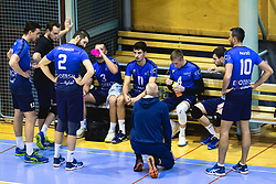 Bench of Šoštanj Topolšica during a time-out during volleyball match between Panvita Pomgrad and Šoštanj Topolšica of 1. DOL Slovenian National Championship 2019/20, on December 14, 2019 in Osnovna šola I, Murska Sobota, Slovenia. Photo by Blaž Weindorfer / Sportida