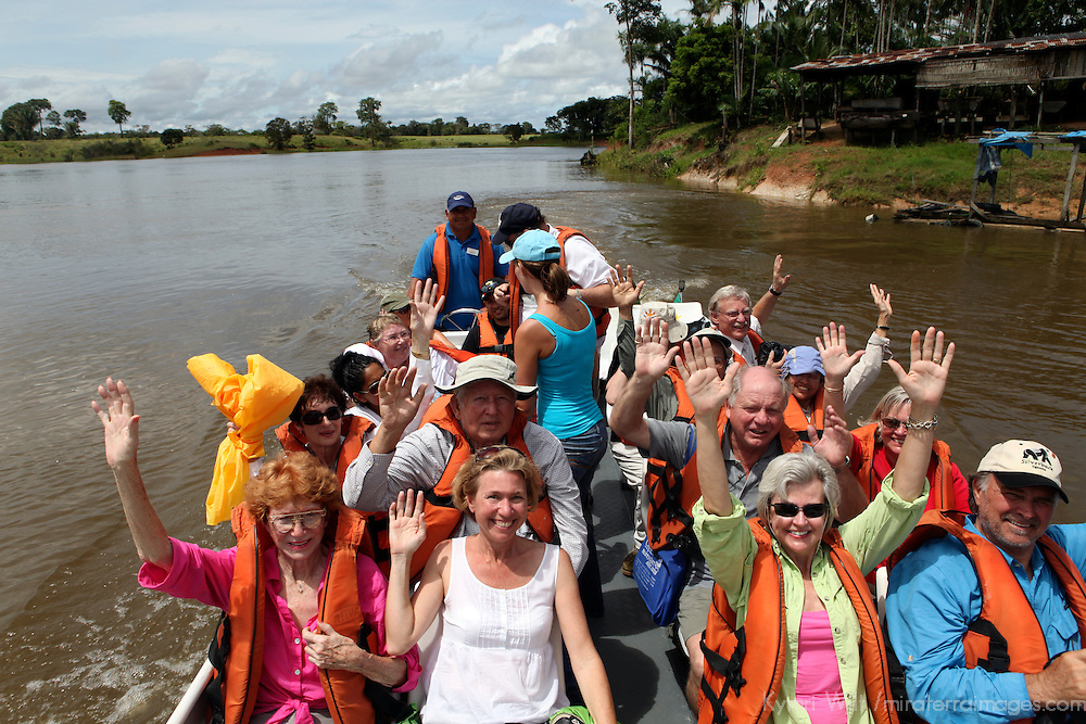 South America, Brazil, Manaus. Guests of the Iberostar Grand Amazon head out on small boat excursion.
