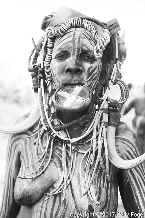 Omo Valley, Ethiopia 2017 Mursi tribe. Mago National Park.