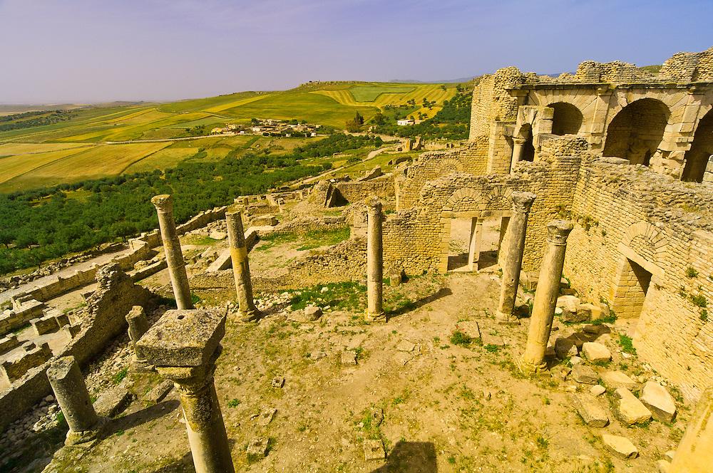 Columns, Roman archeological ruins, Dougga, Tunisia