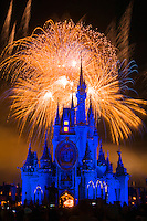Cinderella Castle during SpectroMagic fireworks show, Walt Disney World, Orlando, Florida USA