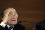 "Giulio Andreotti, former Minister of Treasury in 1958-1959, speaks at ""Ministers of the Treasury speak about 50 years of economic policy in Italy"" cycle of meetings organized by Bocconi University in Milan, Monday, March 5, 2007."