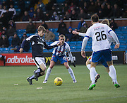 Dundee&rsquo;s Craig Wighton is outnumbered as he tries to find an opening in the Kilmarnock penalty area - Kilmarnock v Dundee, Ladbrokes Premiership at Rugby Park<br /> <br />  - &copy; David Young - www.davidyoungphoto.co.uk - email: davidyoungphoto@gmail.com