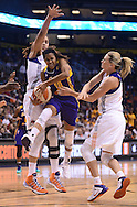 Sep 21, 2013; Phoenix, AZ, USA; Los Angeles Sparks guard Lindsey Harding (10) drives the ball against the Phoenix Mercury center Brittney Griner (42) and forward Penny Taylor (13) in the second half of Game 2 of a WNBA basketball Western Conference semifinal series at US Airways Center. The Sparks defeated the Mercury 82-73. Mandatory Credit: Jennifer Stewart-USA TODAY Sports<br /> <br /> Sep 21, 2013; Phoenix, AZ, USA; Phoenix Mercury XXX against the Los Angeles Sparks in the first half during Game 2 of a WNBA basketball Western Conference semifinal series at US Airways Center. The Sparks defeated the Mercury 82-73. Mandatory Credit: Jennifer Stewart-USA TODAY Sports