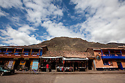 An open air market in the small village of Pisac in the sacred valley outside of Cusco Peru