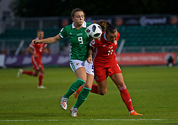 NEWPORT, WALES - Tuesday, September 3, 2019: Northern Ireland's Simone Magill (L) and Wales' Natasha Harding during the UEFA Women Euro 2021 Qualifying Group C match between Wales and Northern Ireland at Rodney Parade. (Pic by David Rawcliffe/Propaganda)