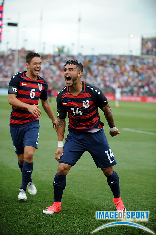 Jul 1, 2017; East Hartford, CT, USA; United States forward Dom Dwyer (14) celebrates a goal during a friendly match with Ghana in East Hartford, CT at Rentschler Field. USA defeated Ghana 2 to 1. Photo by Reuben Canales