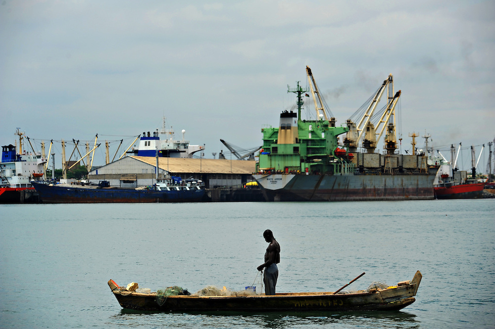 11-10-12 -   LOME, TOGO -  A fisherman in Lomé's port in Togo, West Africa on October 12, 2011. The threat of piracy in neighbouring Benin has prompted ships to seek safer anchorage in Togolese waters, however many are concerned that pirates will follow the vessels.  Photo by Daniel Hayduk