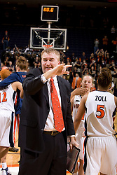 Virginia Cavaliers assistant coach Jeff House celebrates after UVA beat GT in double overtime.  The Virginia Cavaliers women's basketball team defeated the Georgia Tech Yellow Jackets 103-101 in double overtime at the University of Virginia's John Paul Jones Arena in Charlottesville, VA on March 2, 2008.