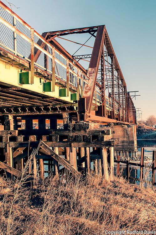 A bridge on the river by Lake Red Rock, Iowa.