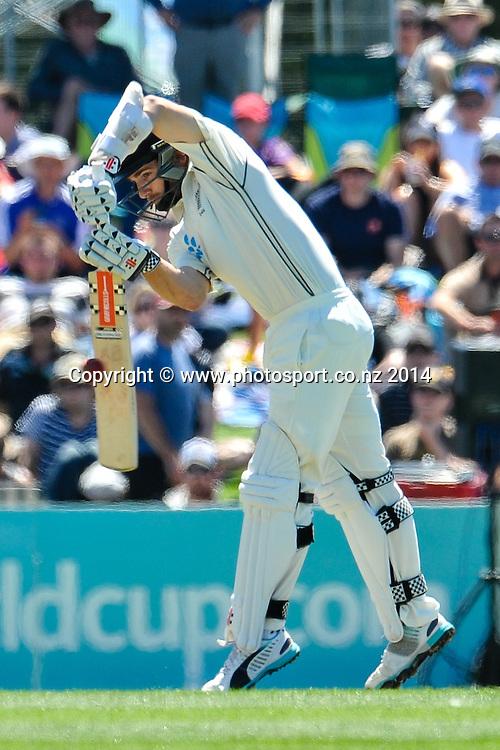 Kane Williamson of the Black Caps plays a shot in the 1st day of the cricket test match, NZ v Sri Lanka, Hagley Oval, 26 December 2014. Photo:John Davidson/www.photosport.co.nz