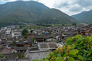 Elevated view of a Traditional town of Shigu, Yulong County, Yunnan, China