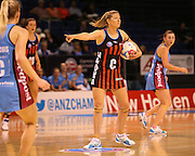 Anna Thompson Tactix captain reacts to a game call during the ANZ Championship Netball game between the Tactix v Steel at Horncastle Arena in Christchurch. 6th April 2015 Photo: Joseph Johnson/www.photosport.co.nz