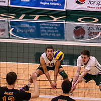 2nd year Right-Side hitter Matthew Aubrey (7) of the Regina Cougars and 1st year outside hitter Marcus Roflik (10) of the Regina Cougars in action during the Women's Volleyball Home Game vs U of C Dinos on October21 at the CKHS University of Regina. Credit Arthur Ward/©Arthur Images 2017