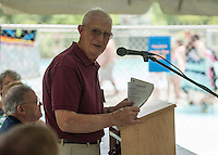 Dexter Willson addresses the crowd during the 70th Anniversary celebration of the Kiwanis Pool in St. Johnsbury Vermont.  Karen Bobotas / for Kiwanis International
