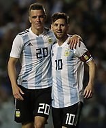 Argentina's Lionel Messi (R) celebrates with his teammate midfielder Giovani Lo Celso, after scoring the team's second goal against Haiti during the international friendly football match at Boca Juniors' stadium La Bombonera in Buenos Aires, on May 29, 2018. (Alejandro PAGNI / PHOTOXPHOTO)