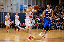 Luka Grum of KK Mesarija Prunk Sezana and Blaz Janezic of KK Plama-Pur during basketball match between KK Mesarija Prunk Sezana and KK Plama - Pur in 2nd Slovenian Basketball League, on January 20, 2018 in Sports hall OS Sezanal,Sezana, Slovenia. Photo by Urban Urbanc / Sportida