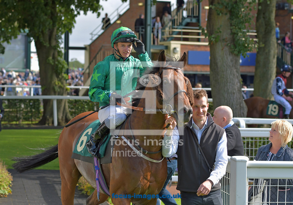 Mattmu ridden by David Allan (dark green) after winning William Hill great St Wilfred handicap during the William Hill Great St Wilfrid Stakes meeting at Ripon Racecourse, Yorkshire.<br /> Picture by Martin Lynch/Focus Images Ltd 07501333150<br /> 19/08/2017