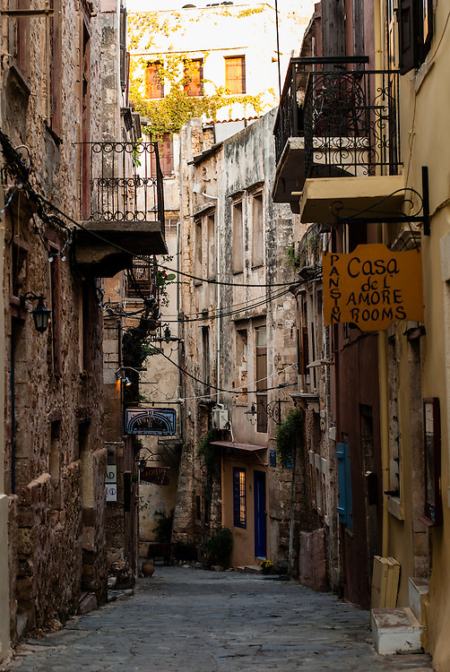 A street in old town Chania, Crete.
