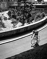 Picture by Andrew Tobin/Focus Images Ltd +44 7710 761829<br /> 04/08/2013<br /> A rider on the course during the Cycle Messenger World Championships held in Lausanne, Switzerland. Started in 1993 by Achim Beier from Berlin, the championships are not only a sporting contest but an opportunity to unite friends and bicycle enthusiasts worldwide. The event comprises a number of challenges including a sprint, a track stand (longest time stationary on the bike), a cargo race where heavy loads are carried on special bikes, and the main race. The course winds through central Lausanne and includes bridges, stairs, cobbles, narrow alleyways and challenging hills. The main race simulates the job of a bike courier making numerous drops and pickups across the city. Riders need to check in at specific checkpoints, hand over their delivery and get a new one. The main race can take up to 4 hours for each competitor to complete.