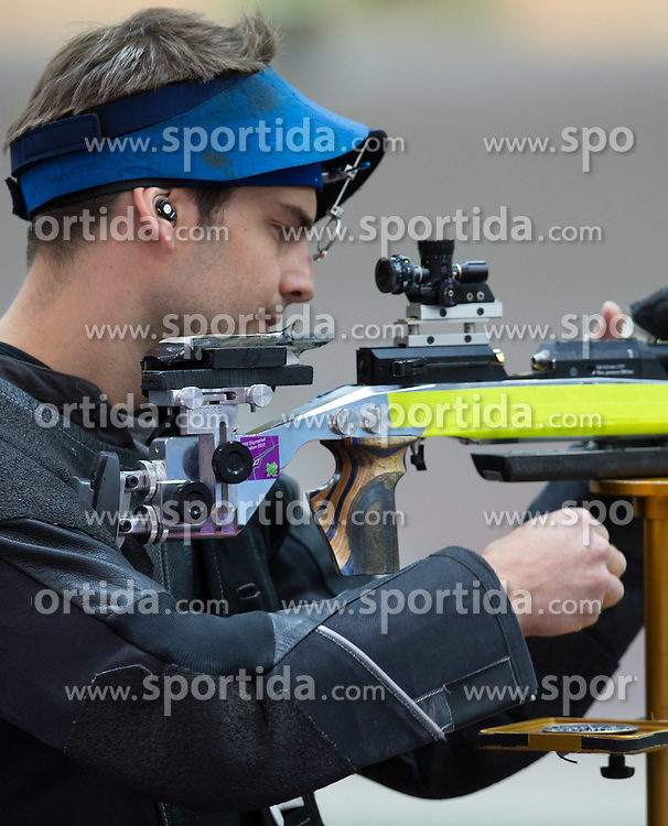 30.07.2012, Royal Artillery Barracks, London, GBR, Olympia 2012, Schiessen,  10m Luftgewehr, Herren, im BildPascal Loretan (SUI) // Pascal Loretan of Switzerland during Men 10m Air Rifle at the 2012 Summer Olympics at the Royal Artillery Barracks, London, United Kingdom on 2012/07/30. EXPA Pictures © 2012, PhotoCredit: EXPA/ Johann Groder