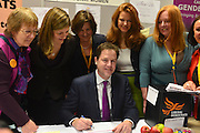 """© Licensed to London News Pictures. 09/03/2013. Brighton, UK. Leader of the Liberal democrats and Deputy Prime Minister Nick Clegg meets members from """"Liberal Democrat Women"""" at the Liberal Democrat Spring Conference in Brighton today 9th March 2013. Photo credit : Stephen Simpson/LNP"""