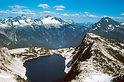 Hidden Lake, Forbidden Peak, and North Fork Cascades River Valley, North Cascades National Park, Washington, USA.