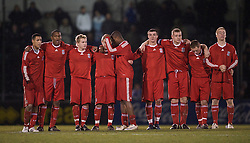 BRISTOL, ENGLAND - Thursday, January 15, 2009: Liverpool's players stand to watch the penalty shoot-out against Bristol Rovers during the FA Youth Cup match at the Memorial Stadium. L-R: Thomas Ince, Andre Wisdom, Chris Buchtmann, Jack Metcalf, David Amoo, James Ellison, captain Joe Kennedy, Steven Irwin and Lauri Dalla Valle. (Mandatory credit: David Rawcliffe/Propaganda)