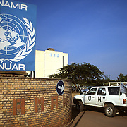 Kigali Rwanda July 1994 - Headquarters of UNAMIR (the United Nations Assistance Mission in Rwanda) .UNAMIR was originally established to help implement the Arusha Peace Agreement signed by the Rwandese parties on 4 August 1993. UNAMIR's mandate and strength were adjusted on a number of occasions in the face of the tragic events of the genocide and the changing situation in the country. ©Jean-Michel Clajot