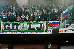 Green Dragons, fans of Olimpija during Euroleague Top 16 basketball match between Lottomatica Virtus Roma (ITA) and KK Union Olimpija Ljubljana (SLO) in Group F, on January 20, 2011 in Arena PalaLottomatica, Rome, Italy. (Photo By Vid Ponikvar / Sportida.com)