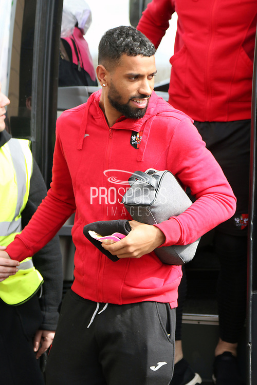 Exeter City defender Luke Croll (23) gets off the team coach prior to  the EFL Sky Bet League 2 match between Lincoln City and Exeter City at Sincil Bank, Lincoln, United Kingdom on 30 March 2018. Picture by Mick Atkins.