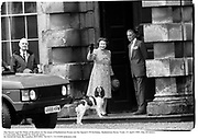 The Queen and the Duke of Beaufort on the steps of Badminton House on the Queen's 59 birthday. Badminton Horse Trials. 21 April 1985. film 85182f21<br />