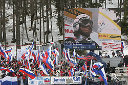 Rok Benkovic of Slovenia and his fans during Flying Hill Individual at FIS Ski Flying World Cup Planica 2005, on March 19, 2005, Planica, Slovenia.  (Photo by Vid Ponikvar / Sportida)