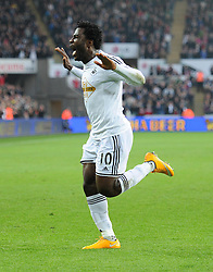 Swansea City's Wilfried Bony celebrates.- Photo mandatory by-line: Alex James/JMP - Mobile: 07966 386802 - 29/11/2014 - Sport - Football - Swansea -  - Swansea v Crystal palace  - Barclays Premier League