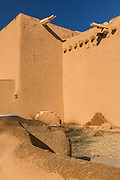 Historic San Francisco de Asis Mission Church in Ranchos de Taos Plaza, Taos, New Mexico. The adobe church built in 1772 and made famous in paintings by artist Georgia O'Keeffe.