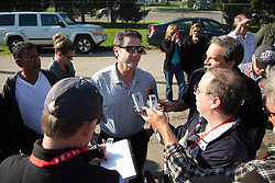 University of Louisville Men's head basketball coach Rick Pitino talks to members of the media after workouts Wednesday, May 01, 2013 at Churchill Downs in Louisville. Photo by Jonathan Palmer