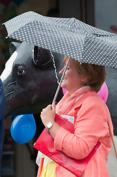 © Licensed to London News Pictures. 21/07/2014. Llanelwedd, UK. The Royal Welsh Show gets off to a damp start as it is opened by Phil Hogan, European Commissioner for Agriculture and Rural Development, in light drizzle.The Royal Welsh Show is hailed as the largest & most prestigious event of it's kind in Europe. In excess of 200,000 visitors are expected this week over the four day show period - 2014 saw 237,694 visitors, 1,033 tradestands & a record 7,959 livestock exhibitors. The first ever show was at Aberystwyth in 1904 and attracted 442 livestock entries. Photo credit: Graham M. Lawrence/LNP