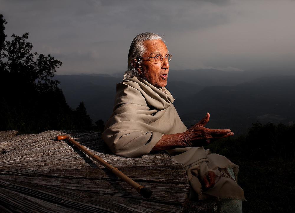 October 2008. <br /> Philosopher Raimon Panikkar photographed at his home in Tavertet.<br /> Copyright: Toni Vilches Fotografia.