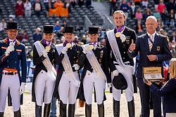WERTH Isabell (GER), SCHNEIDER Dorothee (GER) VON BREDOW-WERNDL Jessica (GER), ROTHENBERGER Soenke (GER), RÖSER Klaus (Equipchef)<br /> Rotterdam - Europameisterschaft Dressur, Springen und Para-Dressur 2019<br /> Siegerehrung Team Wertung<br /> Longines FEI European Championships Dressage Grand Prix - Teams (2nd group)<br /> Teamwertung 2. Gruppe<br /> 20. August 2019<br /> © www.sportfotos-lafrentz.de/Sharon Vandeput
