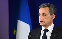 File photo - Ex-President Nicolas Sarkozy delivers his concession speech at his campaign headquarters after the right-wing presidential primary vote's first round, on November 20, 2016 in Paris, France. Admitting defeat, Mr Sarkozy endorsed Francois Fillon, a moderate who finished first in Sunday's first round, according to near-complete results. Alain Juppe, who like Mr Fillon is an ex-prime minister, finished second. They will face each other in a run-off next Sunday. The winner will compete in next year's presidential election. A French judge has ordered ex-President Nicolas Sarkozy to stand trial in an illegal campaign finance case. Mr Sarkozy faces accusations that his party falsified accounts in order to hide 18m euros of campaign spending in 2012. Mr Sarkozy denies he was aware of the overspending, and will appeal against the order to stand trial. Photo by Christian Liewig/ABACAPRESS.COM