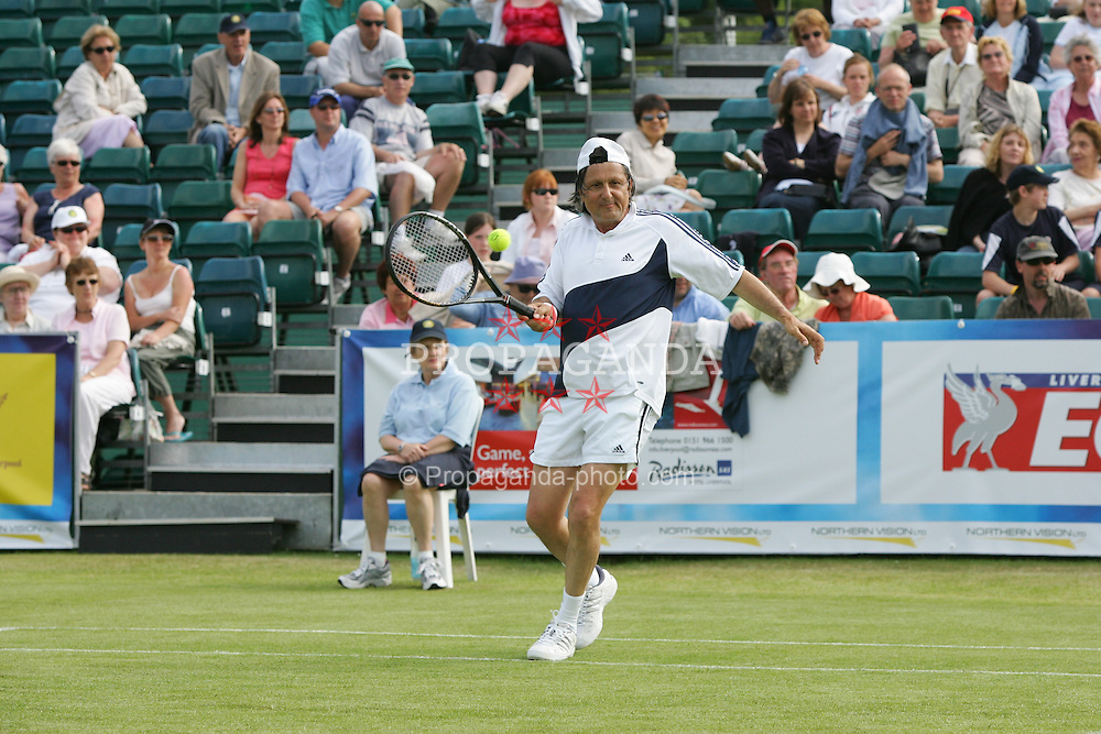 LIVERPOOL, ENGLAND - THURSDAY, JUNE 9th, 2005: Ilie Nastase during the Legends Doubles at the Liverbird Developments Liverpool International Tennis Tournament in Calderstones Park. (Pic by Dave Rawcliffe/Propaganda)