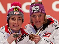 19.02.2011, Medal Placa, Garmisch Partenkirchen, GER, FIS Alpin Ski WM 2011, GAP, Damen, Slalom, Medaillen Zeremonie, im Bild silver medal Kathrin Zettel (AUT), Gold Medal and World Champion Marlies Schild (AUT) // silver medal Kathrin Zettel (AUT), Gold Medal and World Champion Marlies Schild (AUT) during Ladie's Slalom Medalceremony Fis Alpine Ski World Championships in Garmisch Partenkirchen, Germany on 19/2/2011. EXPA Pictures © 2011, PhotoCredit: EXPA/ J. Groder